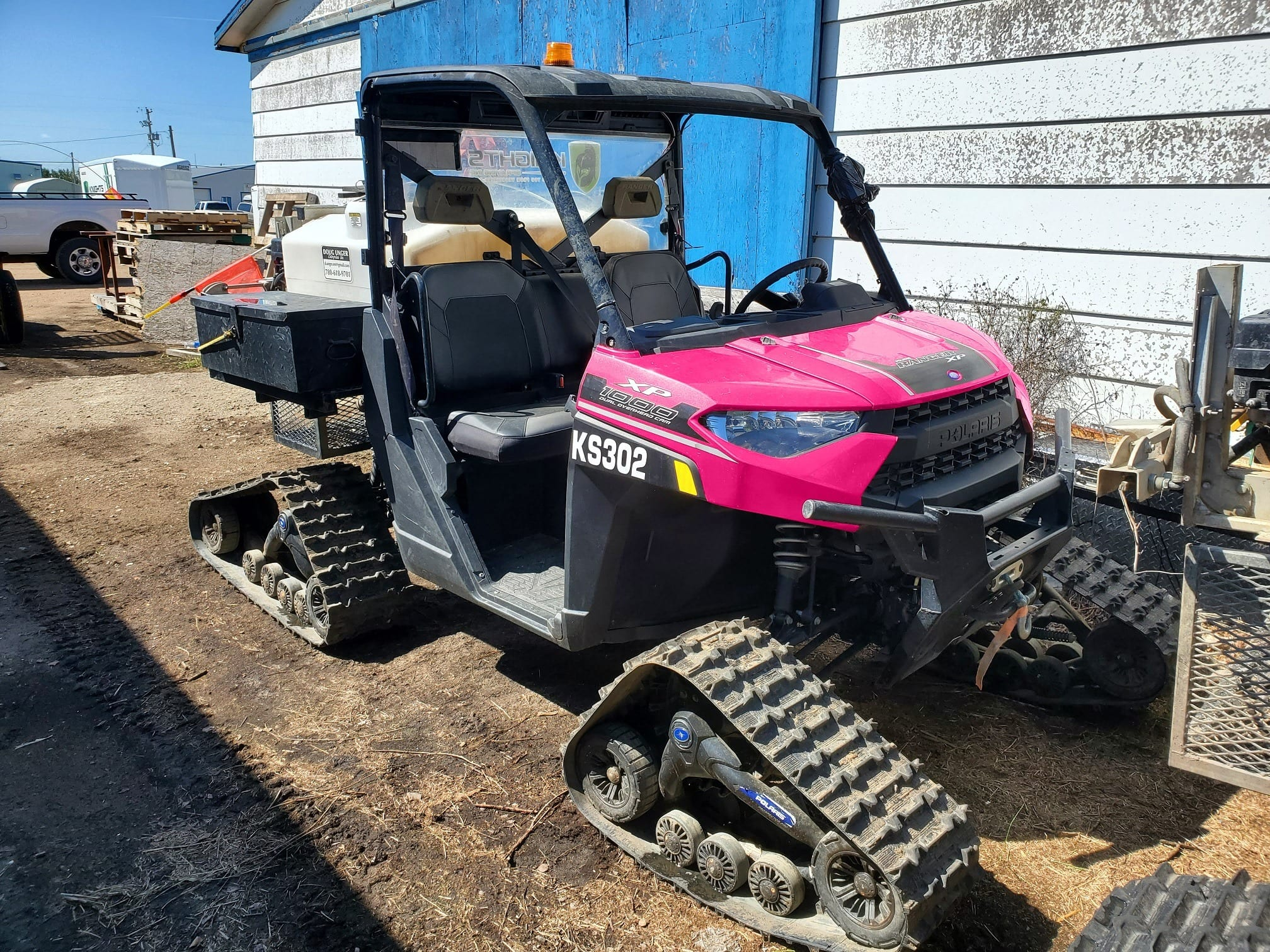Pink Tractor used to transport Knights!